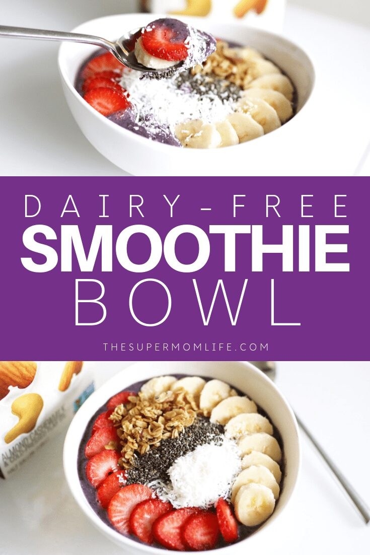 A delicious, dairy-free smoothie bowl featuring fresh fruit, vegan granola and coconut.
