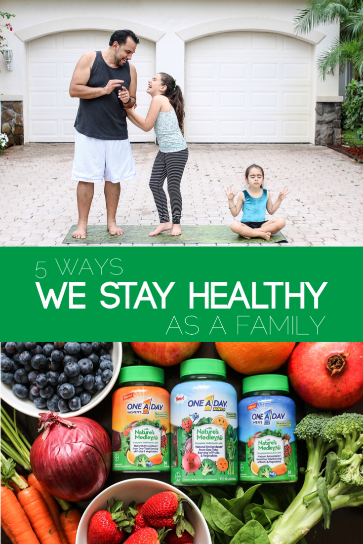 We try to set a good example for our kids. That means showing them to eat healthy, take vitamins + exercise. Here are 5 ways we stay healthy as a family.