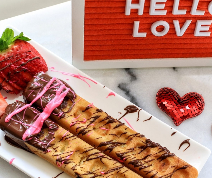 Chocolate Dipped Waffle Sticks for Valentine's Day