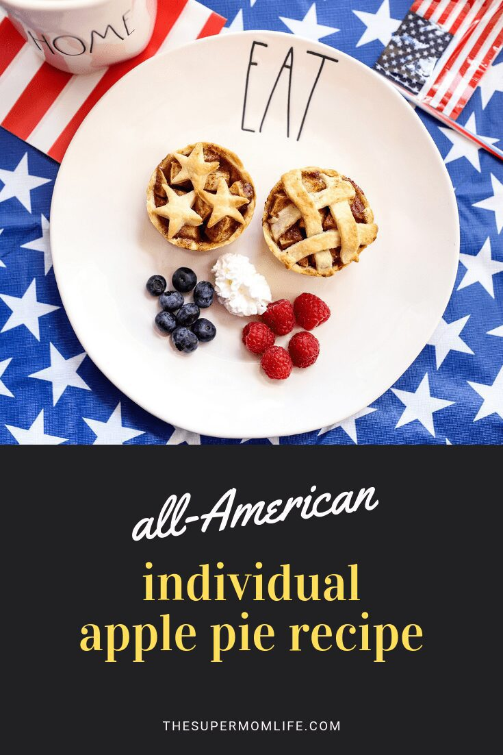 Looking for a great patriotic dessert recipe? These individual all-American apple pies are easy to make! Fill with homemade apple and cinnamon filing and serve warm with whipped cream or ice cream.