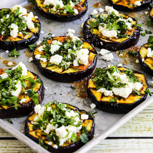 Grilled Eggplant with Garlic-Cumin Vinaigrette, Feta and Herbsby Kalyn at Kalyn's Kitchen