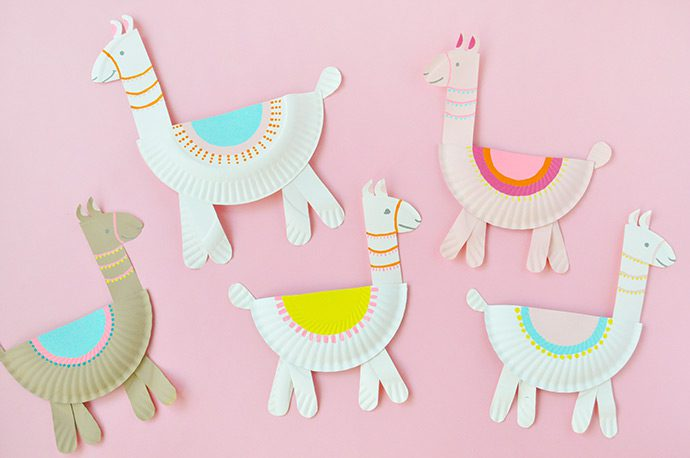 llama paper plate summer craft idea for kids