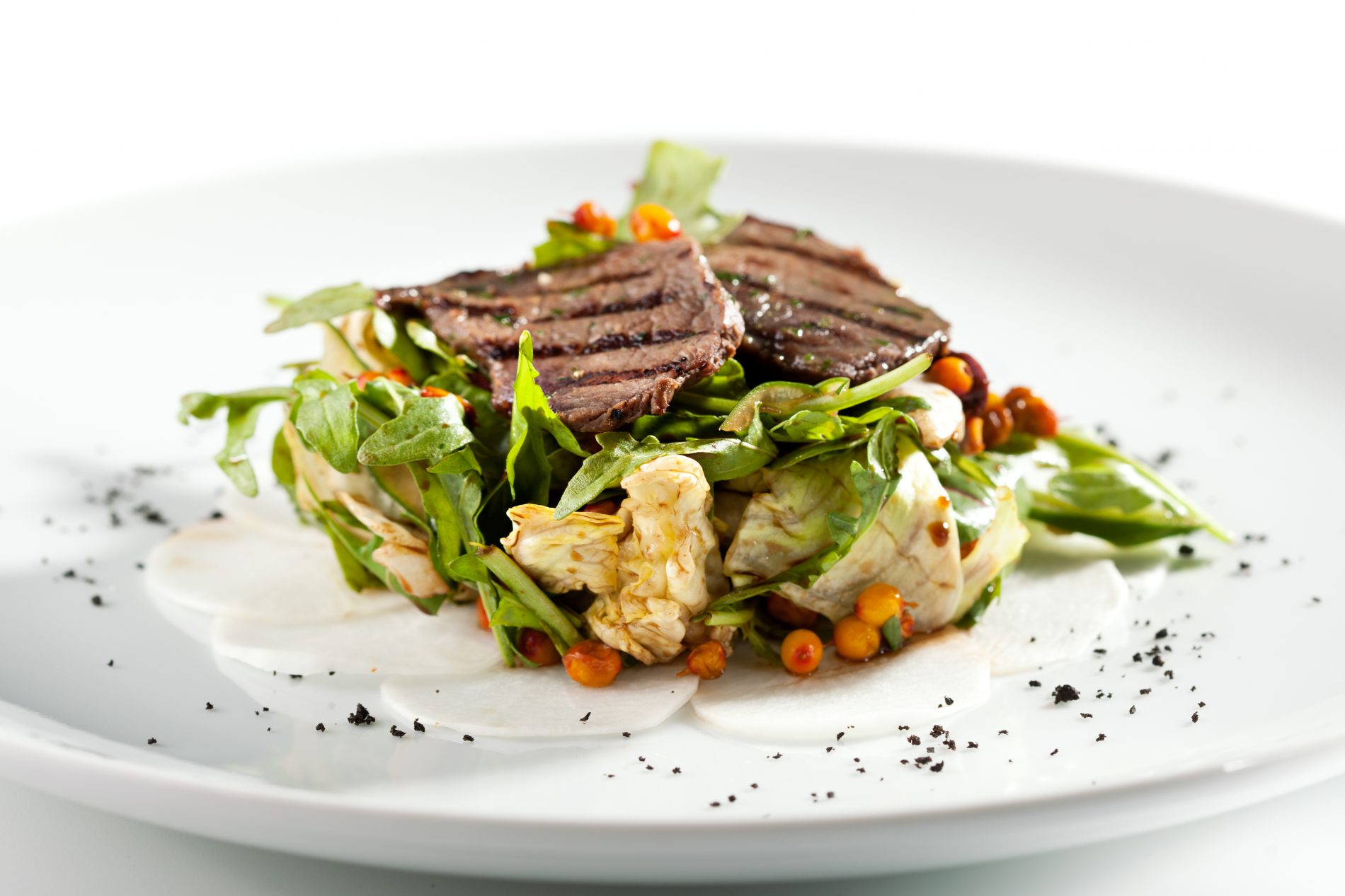 Warm Salad with Grilled Meat and Rocket Salad