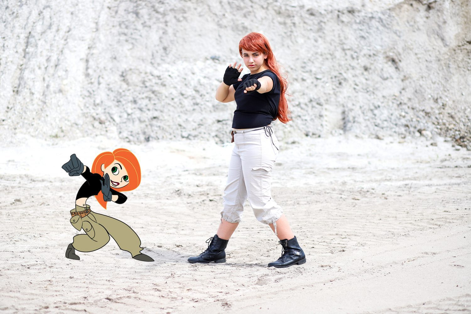 teenager dressed up with DIY Kim Possible costume
