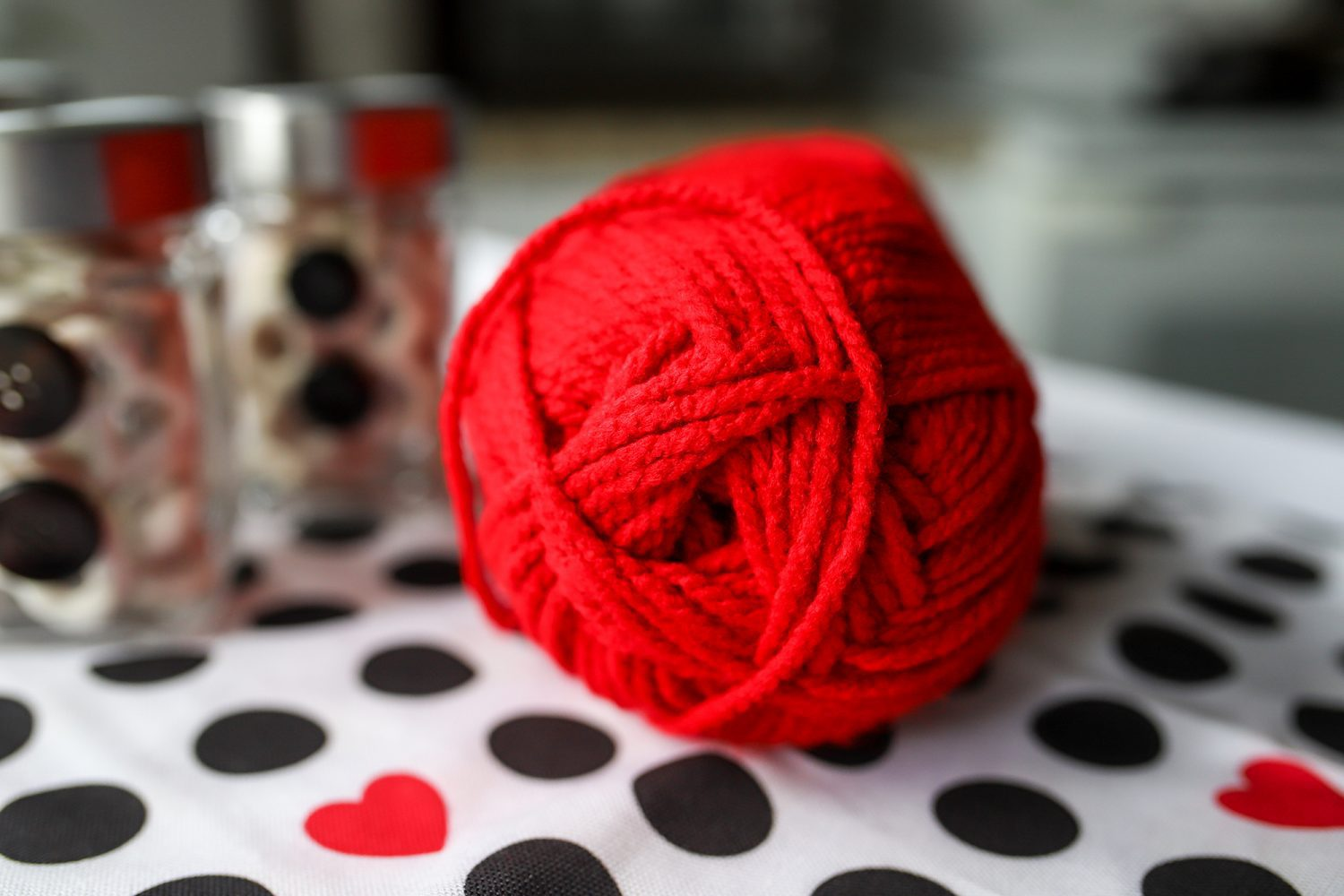red yarn on a table