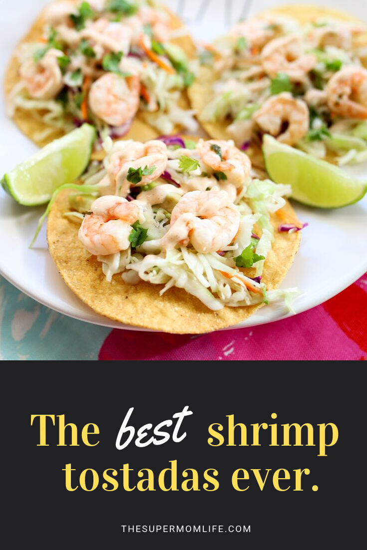 This incredible lime and cilantro shrimp tostada recipe is packed with flavor, kid friendly and perfect for any day of the year!
