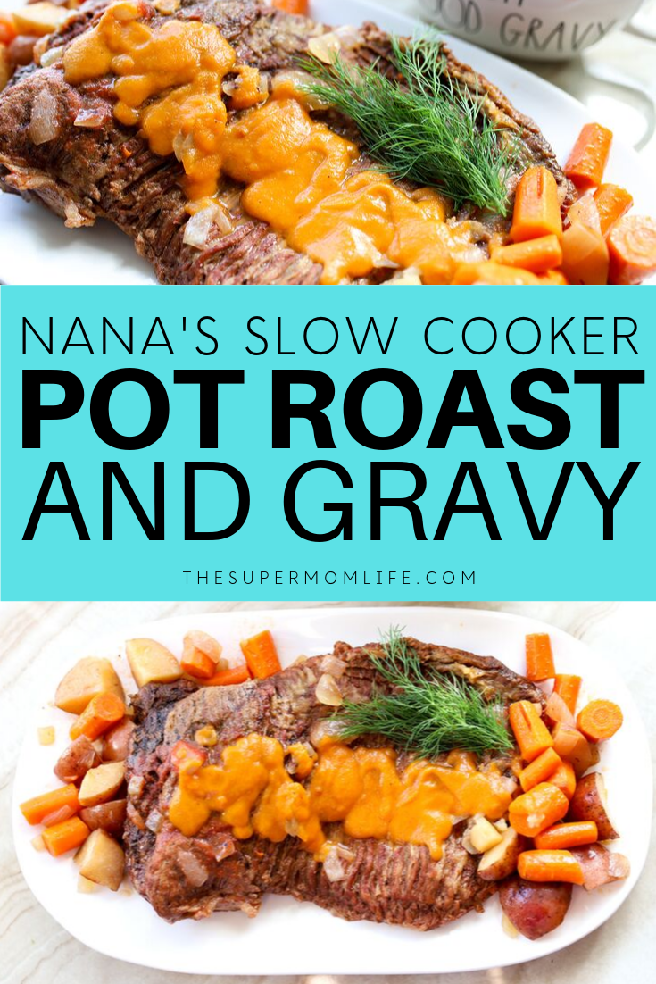 My Nana's pot roast and gravy recipe tastes like home. Just add your ingredients to the slow cooker and dinner is served.