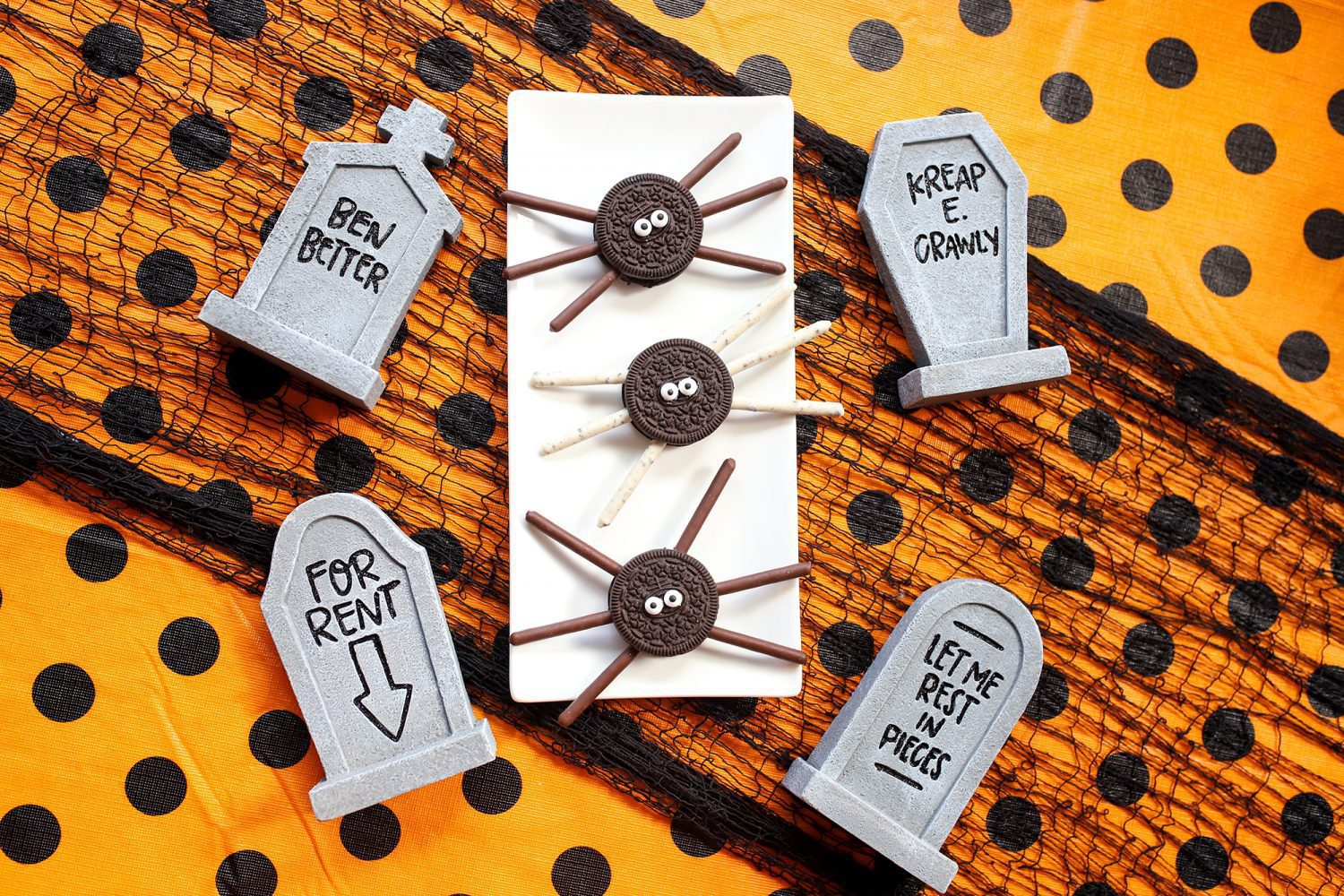 perfect halloween treats a spider made with oreo cookies and pocky
