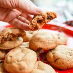 caramel stuffed macchiato chocolate chip cookies
