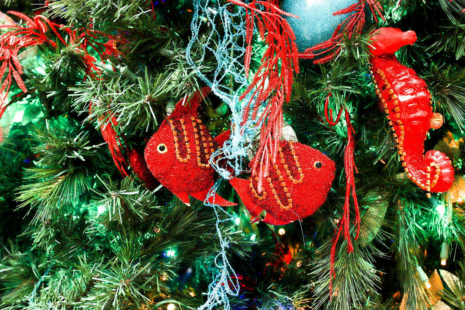 Red Fish Ornaments on a Christmas Tree