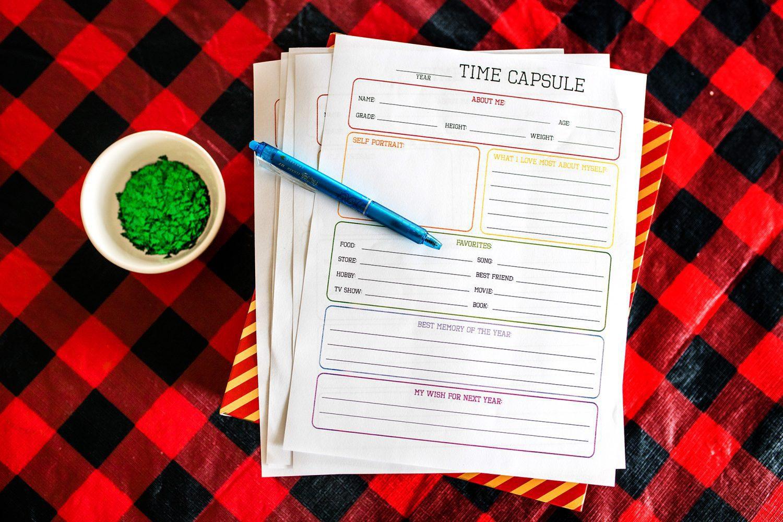 time capsule printable page