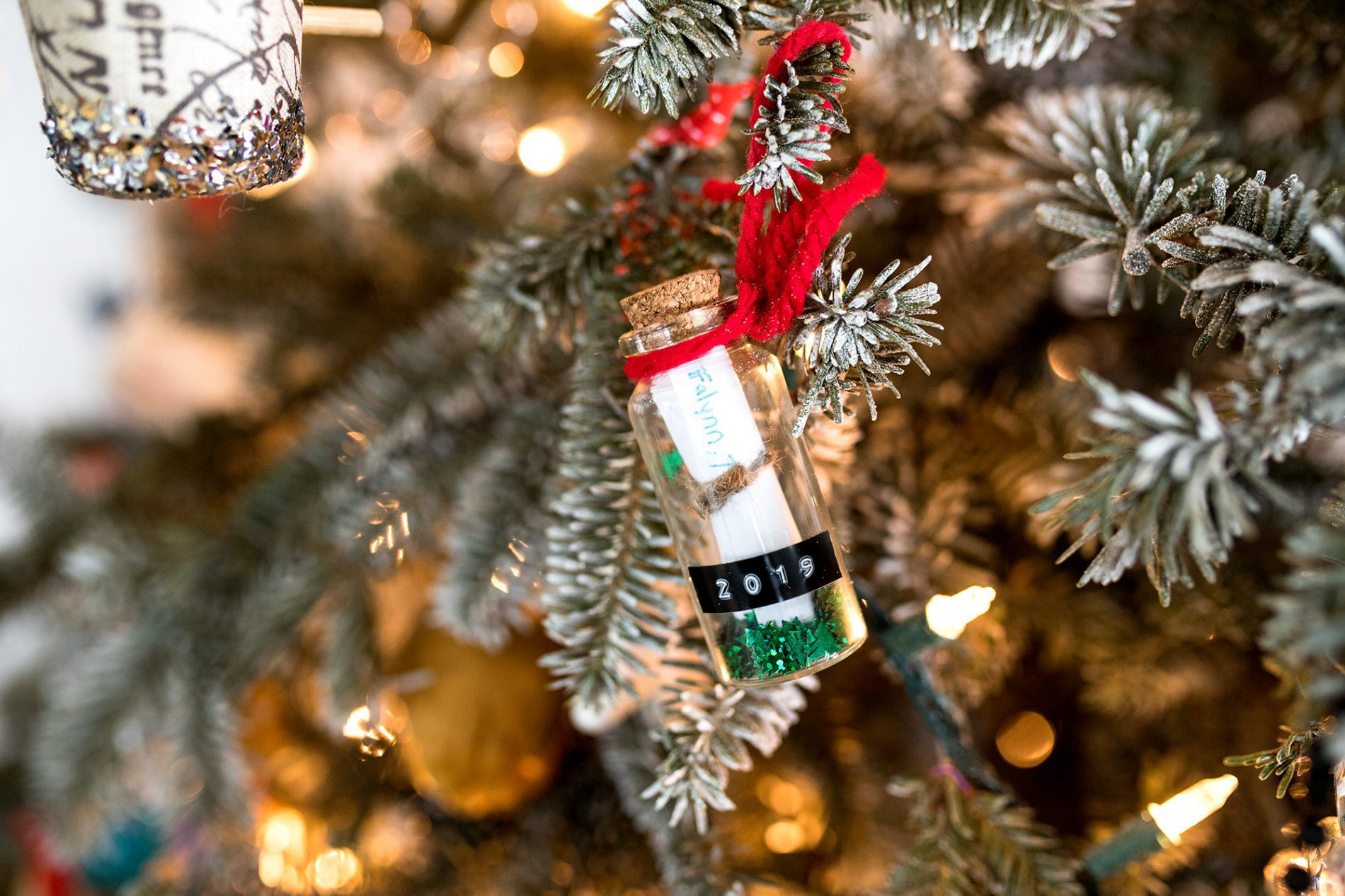time capsule ornament on a tree diy