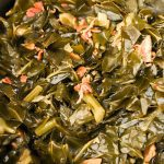 fully cooked collard greens with bacon