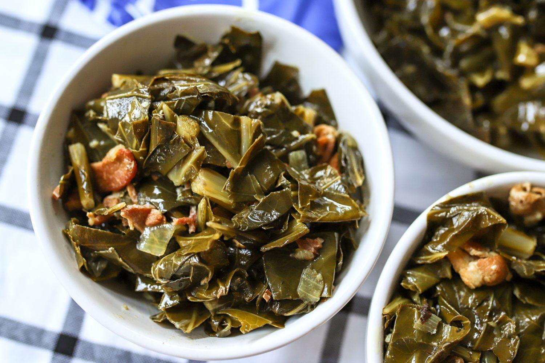 bowls of homemade collard greens