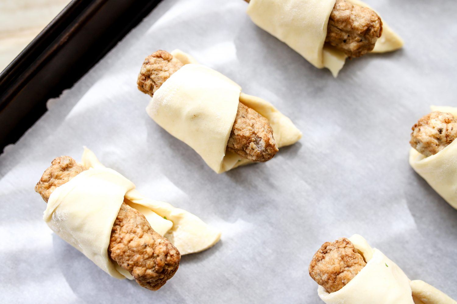 sausage rolled in puff pastry