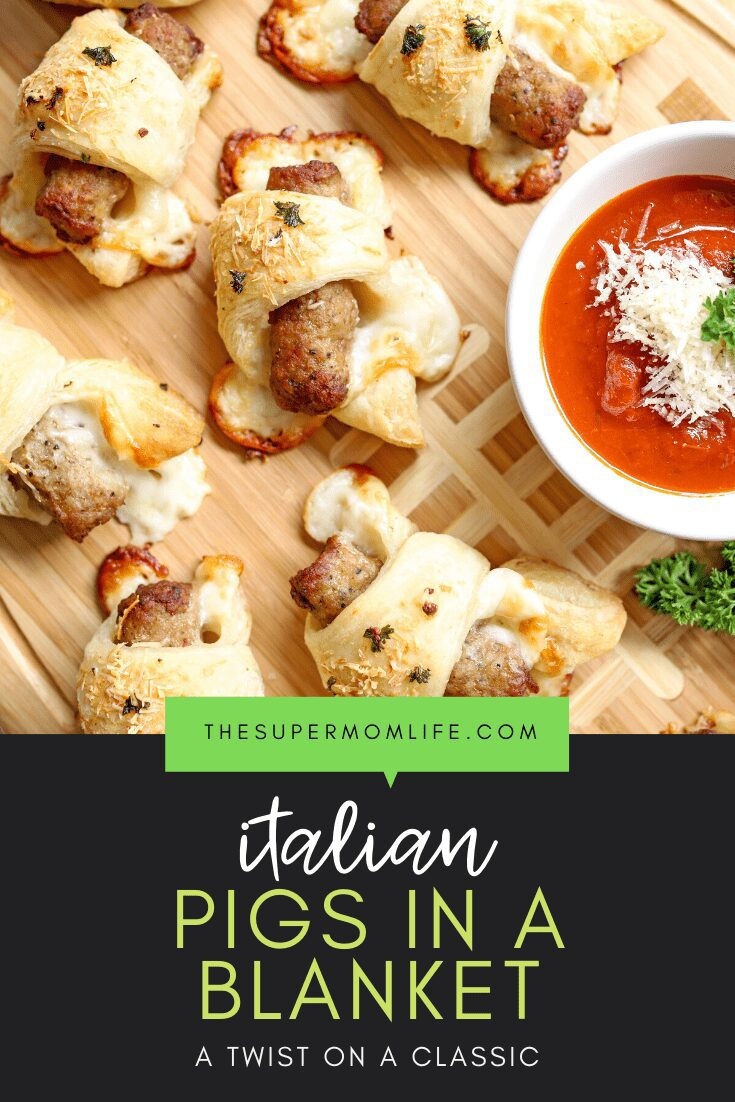 A twist on the classic pigs in a blanket, this Italian version features mozzarella cheese, sausage and is brushed with a garlic butter sauce.