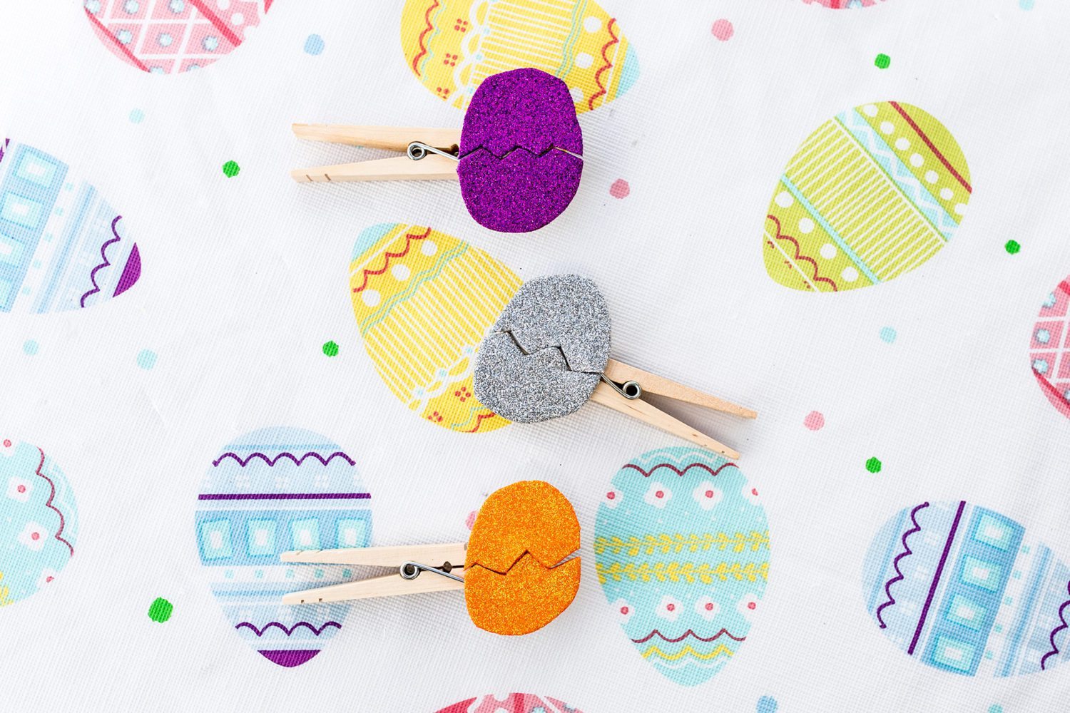 glitter eggs on clothespins