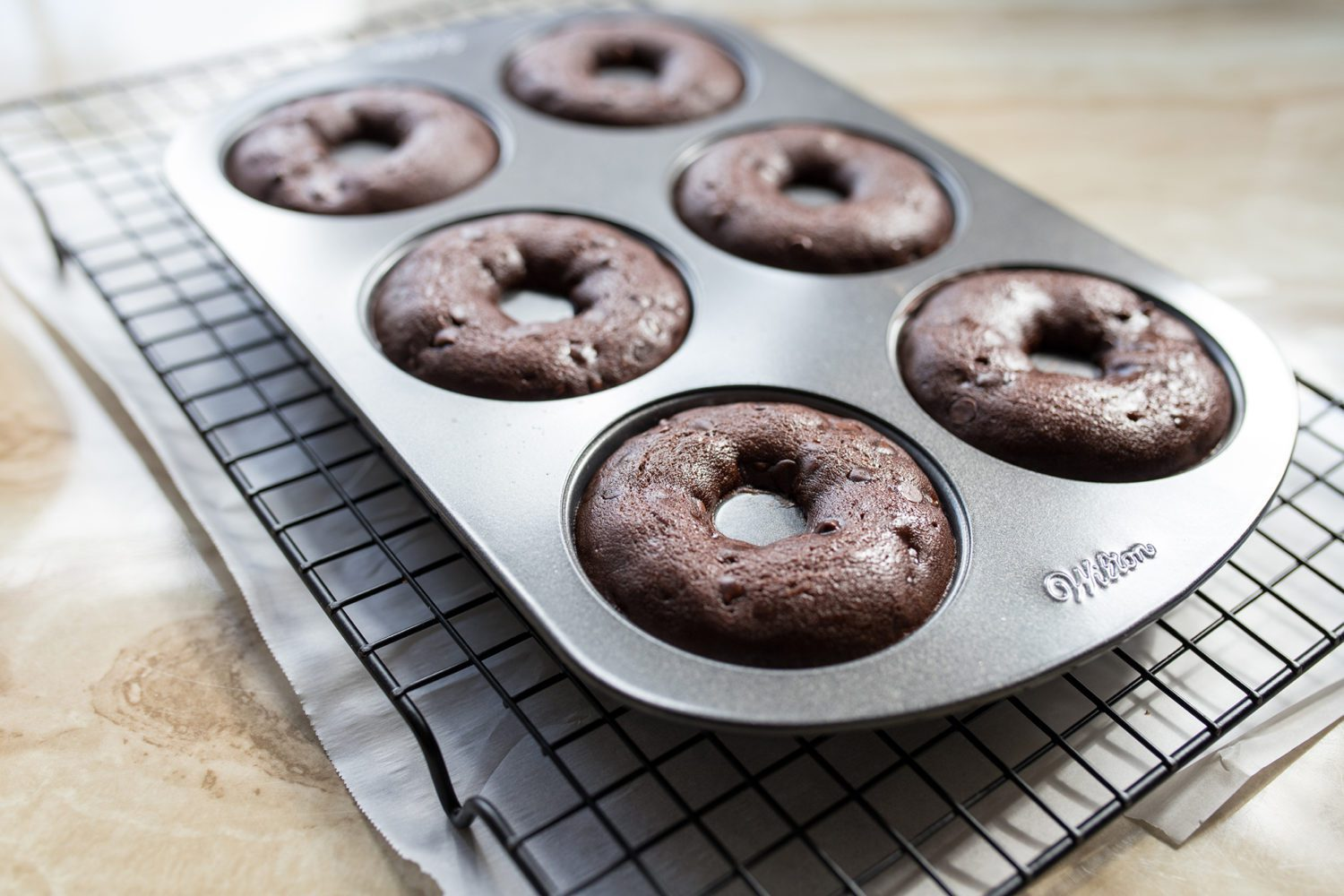 donut pan fresh out of the oven