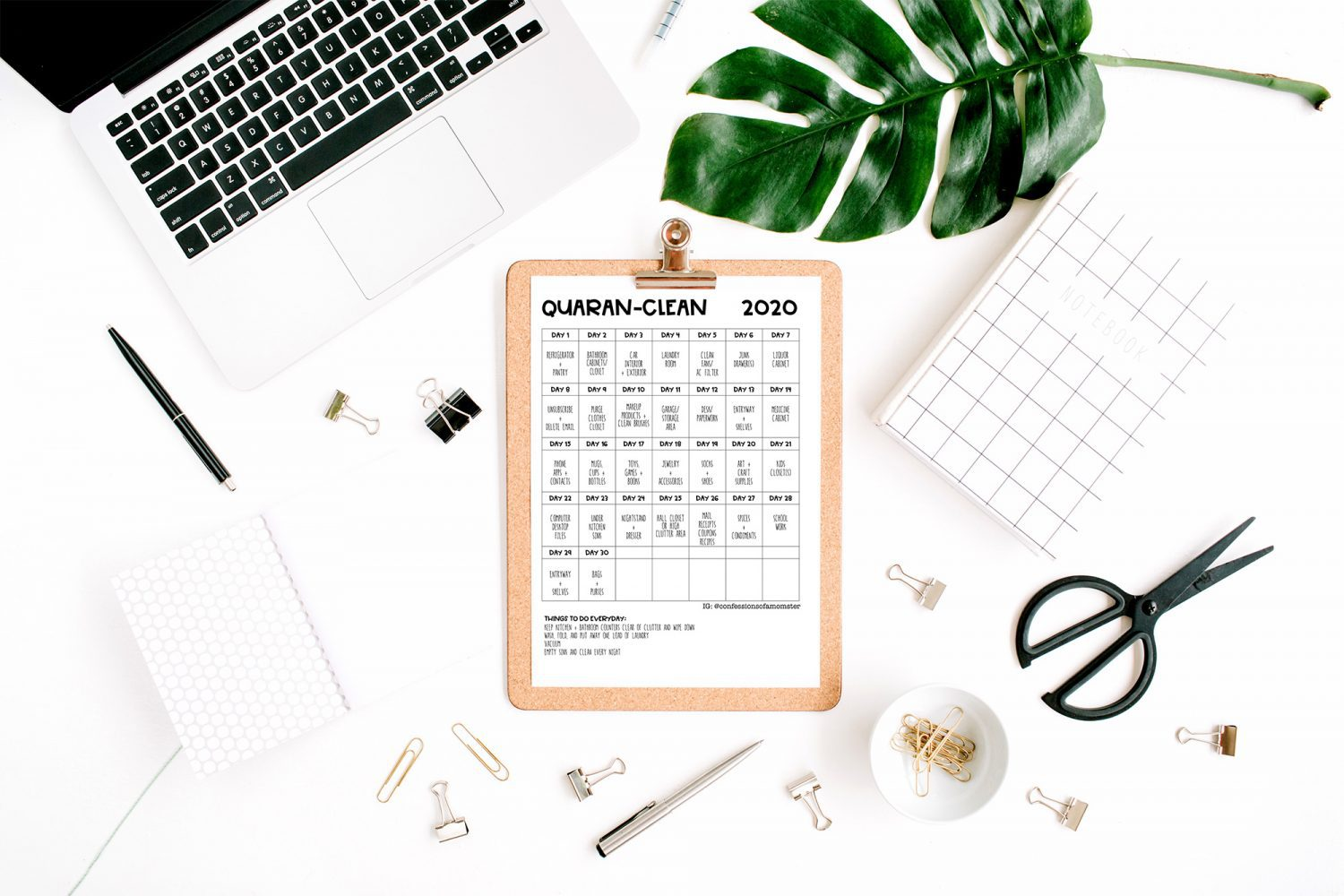 quarantine cleaning schedule on a desk