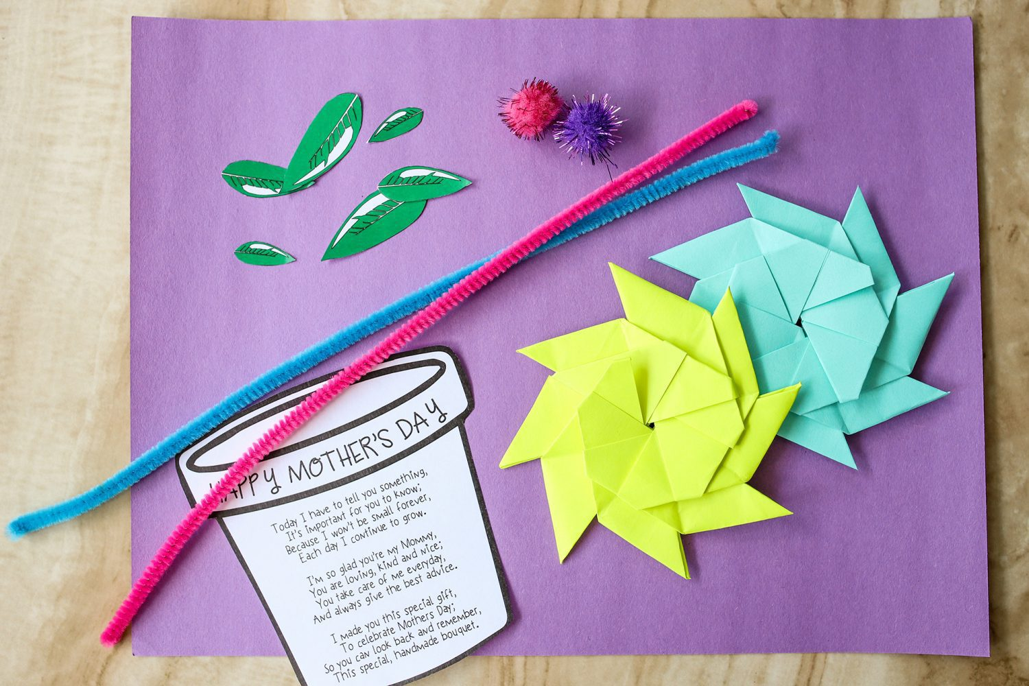 Supplies needed to make a mother's day flower pot