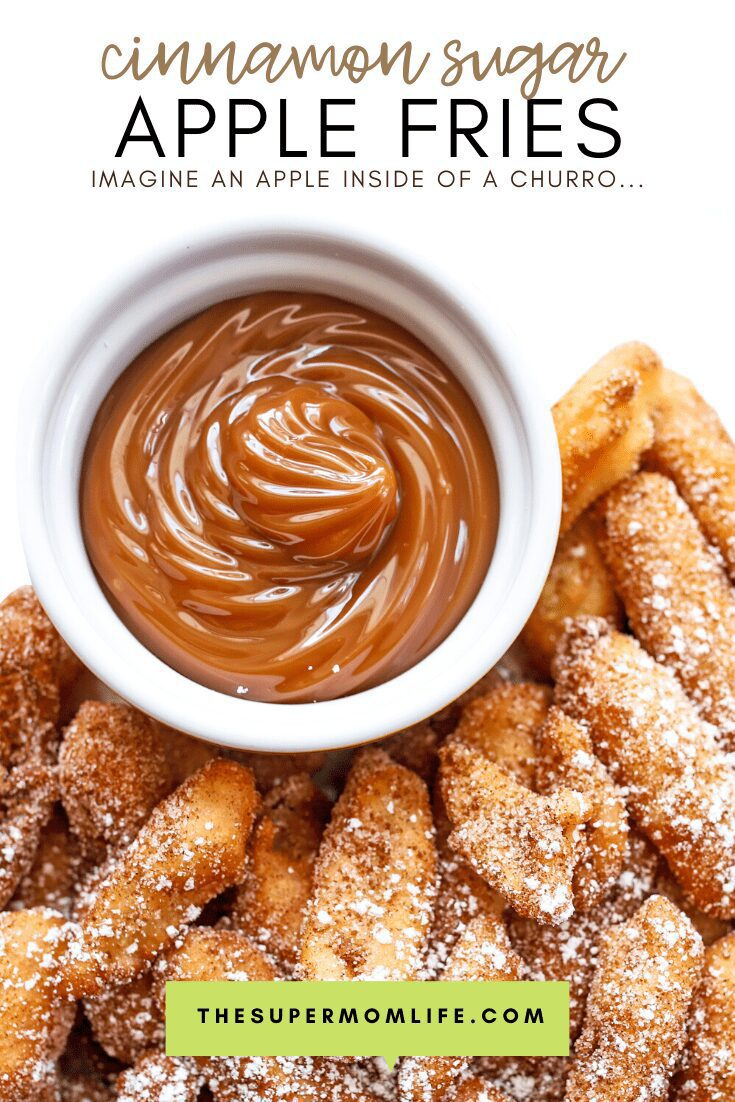 Imagine an apple inside of a churro... that's what these cinnamon sugar apple fries taste like. Crunchy on the outside and warm apple goodness on the inside!