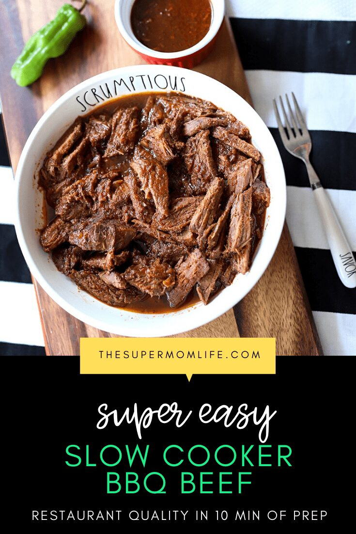 This slow cooker barbecue beef recipe is so easy! Just 10 minutes prep and it'll taste like you were cooking all day long!