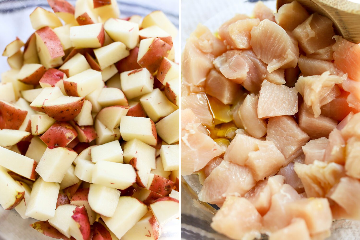 diced potatoes and diced chicken