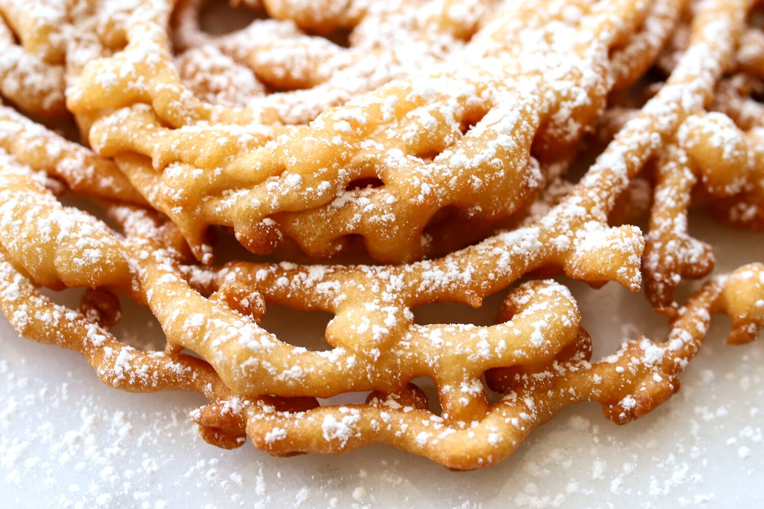 close up of homemade funnel cake