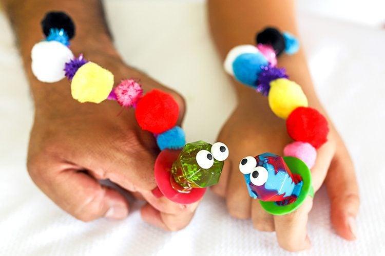 two ring pop caterpillar finger puppets