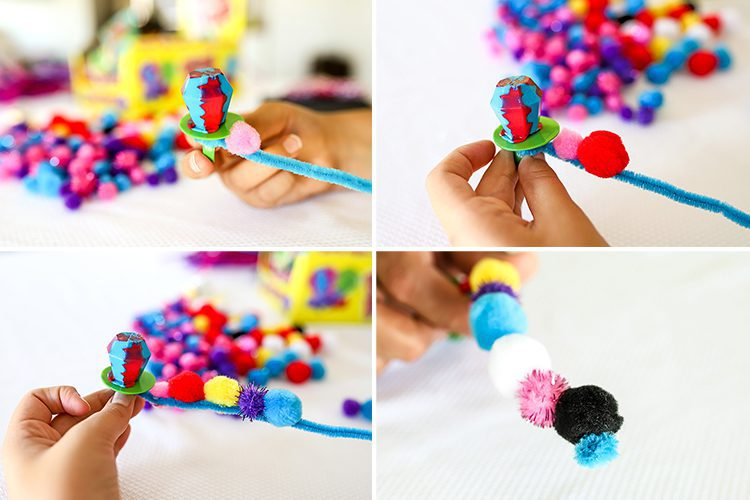 step by step how to make a ring pop caterpillar