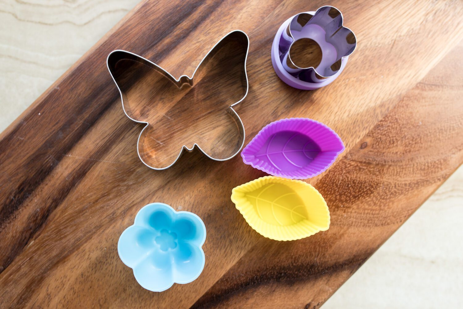 variety of cookie cutters and silicone molds