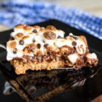 piece of s'mores pudding pie on a plate