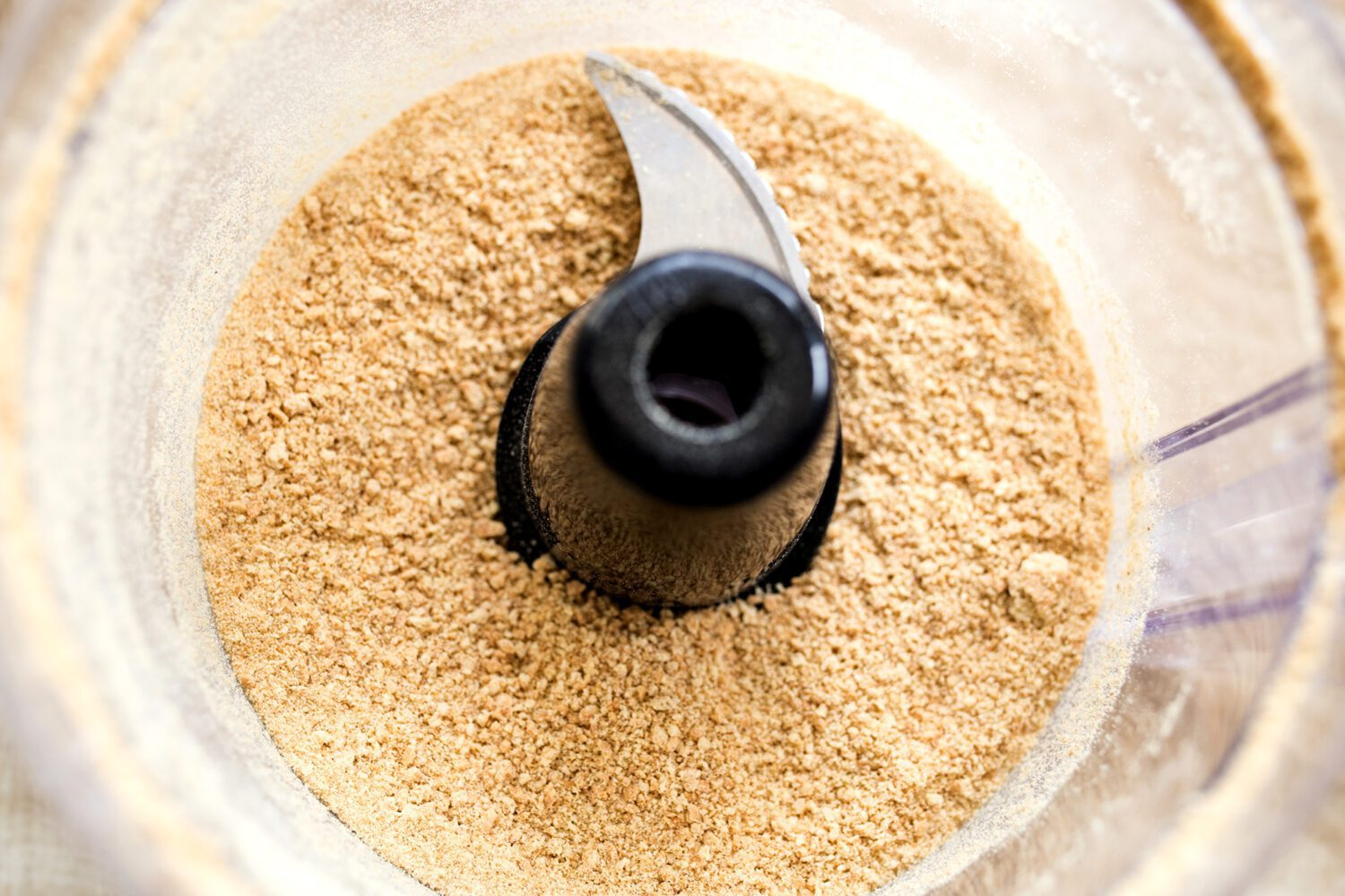 ground up graham crackers in a food processor