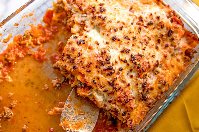 half eaten lasagna in baking dish