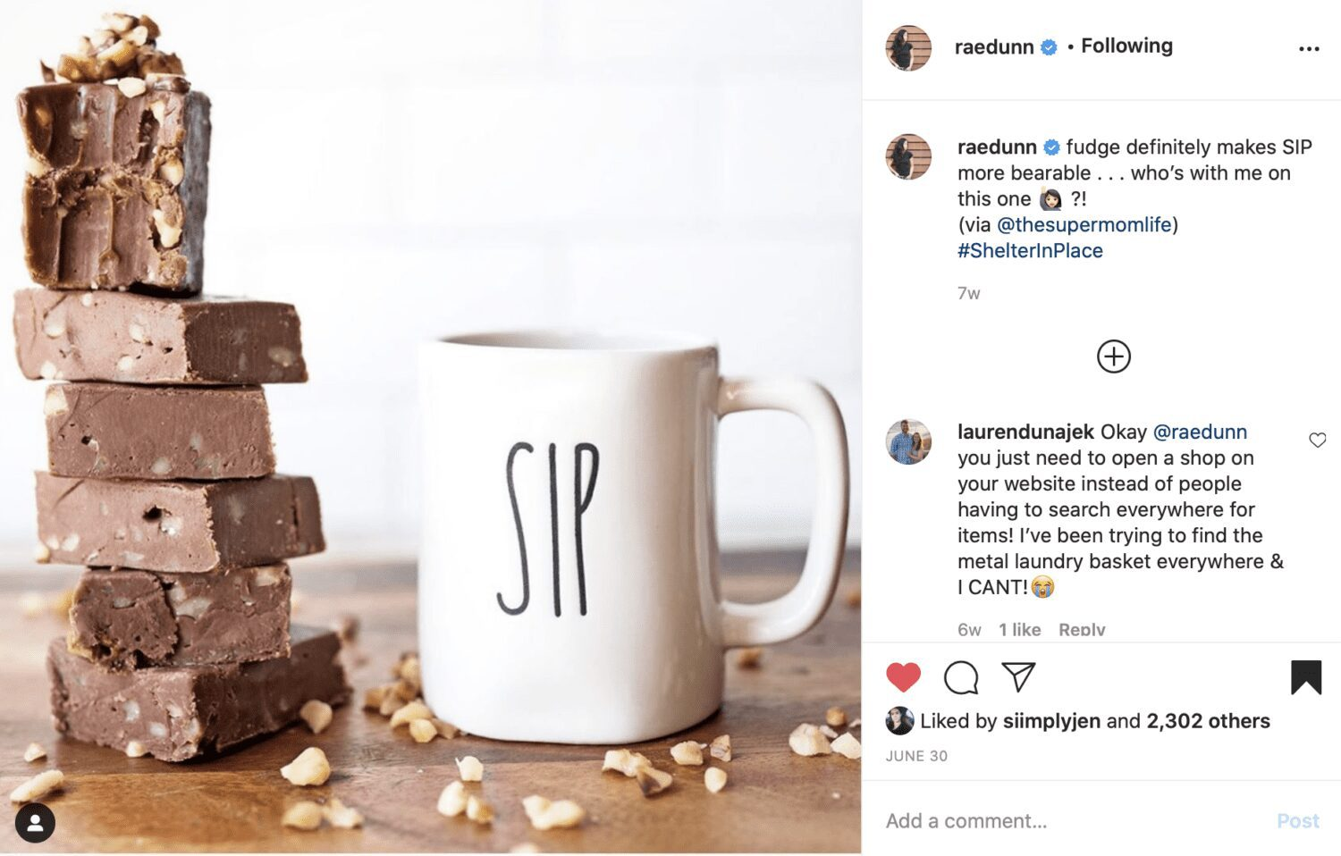 instagram post by Rae Dunn of thesupermomlife fudge recipe