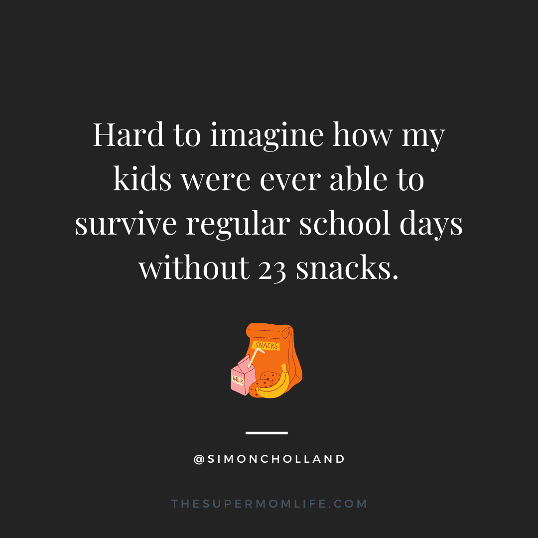 Hard to imagine how my kids were ever able to survive regular school days without 23 snacks.