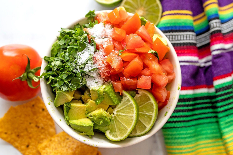 cilantro, tomatoes, avocado and lime