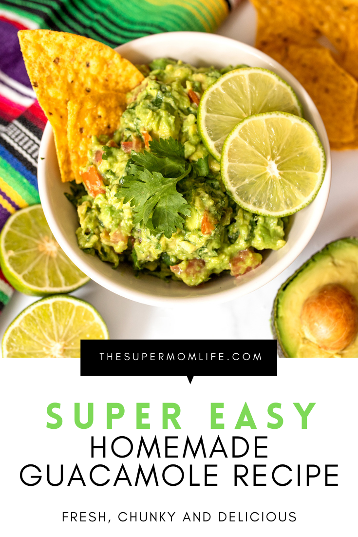 Looking for a simple homemade guacamole recipe? Look no further! This is healthy, fresh and perfect for your next taco Tuesday!
