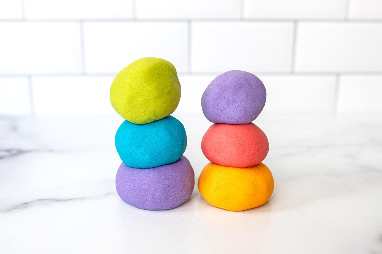 stacks of homemade play dough