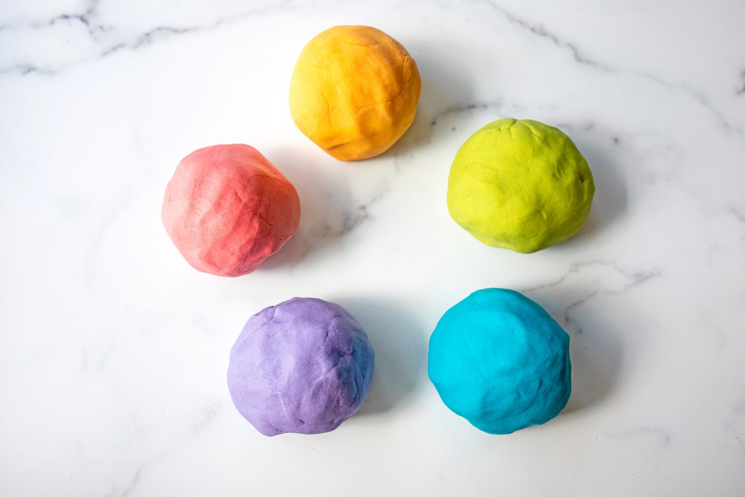 variety of colors of homemade play dough