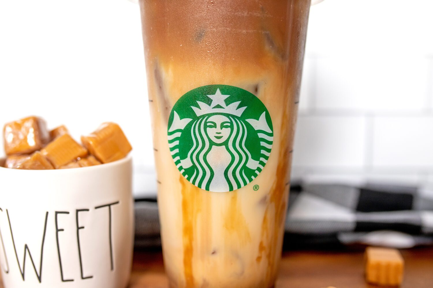 close up of starbucks logo on a cup