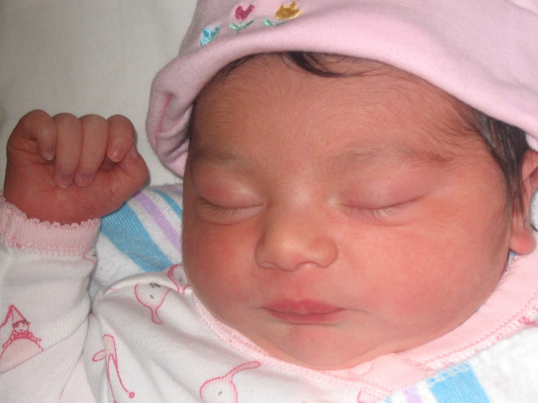 close up of newborn baby girl