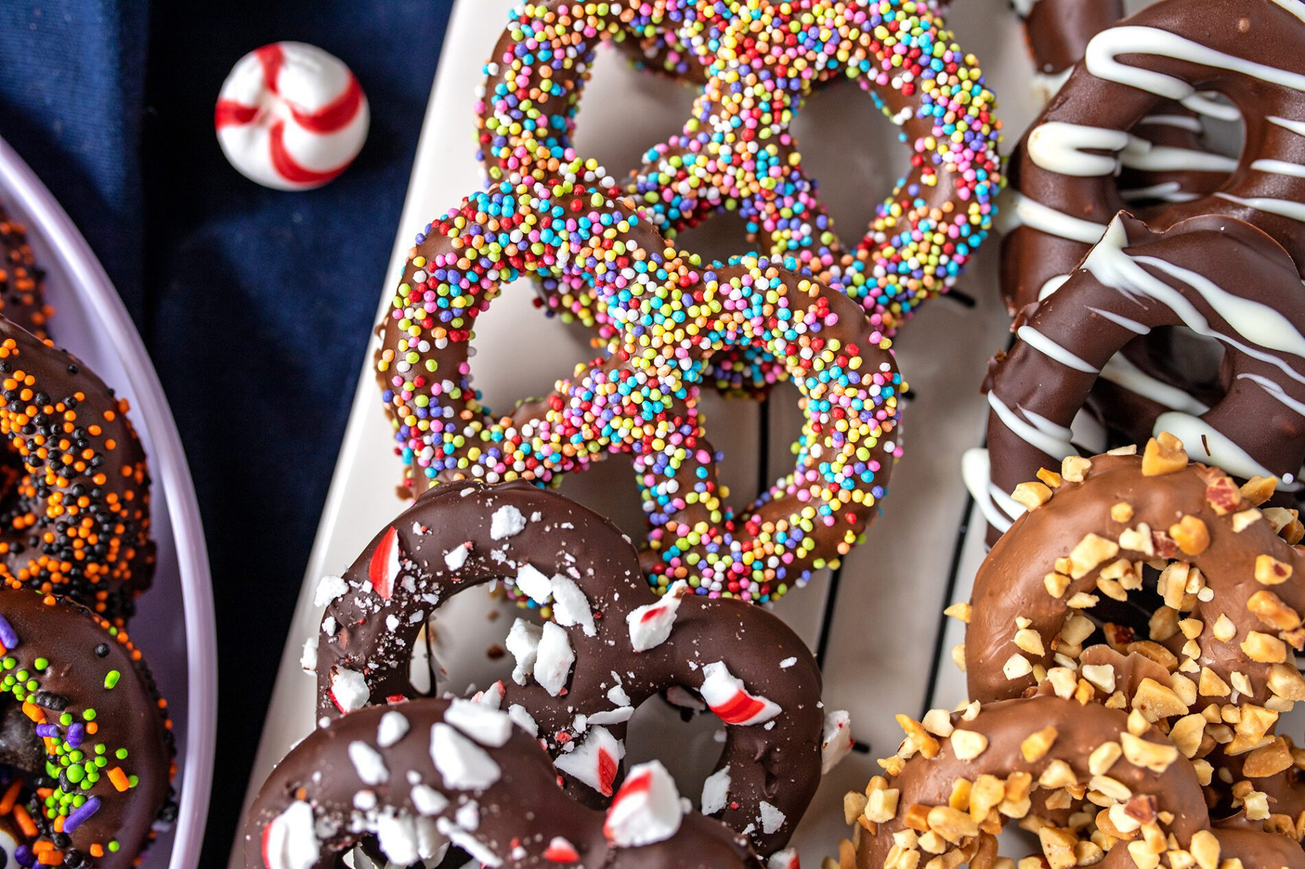 plate of chocolate covered pretzels