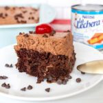 chocolate très leches cake and can of nestle la lechera sweetened condensed milk