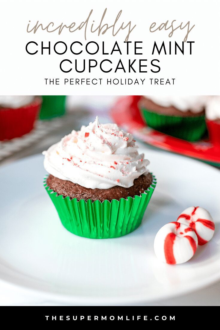 These chocolate peppermint cupcakes feature a light and fluffy chocolate cupcake, topped with whipped cream and crushed peppermint candies. They are perfect for the holidays!