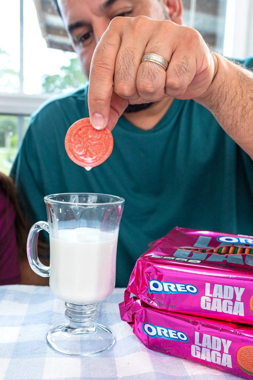 Lady Gaga OREO Cookie dipped in milk