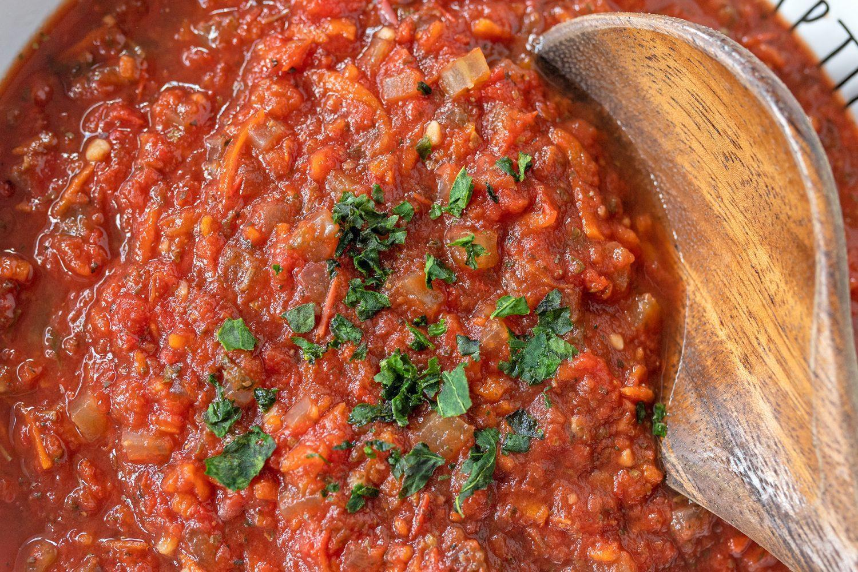 close up of spaghetti sauce