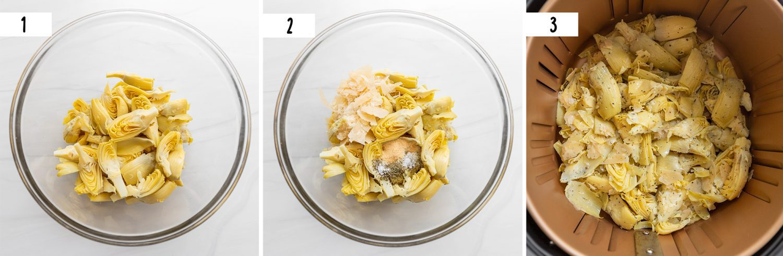 steps to make air fryer artichoke hearts