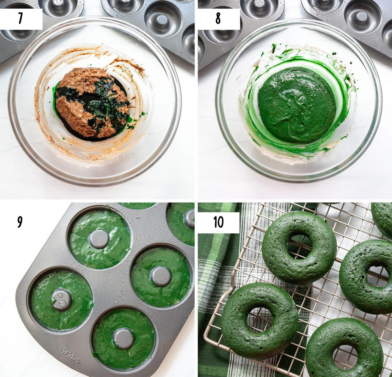 steps to make green velvet donuts