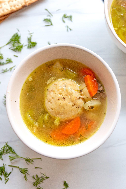 bowl of matzah ball soup